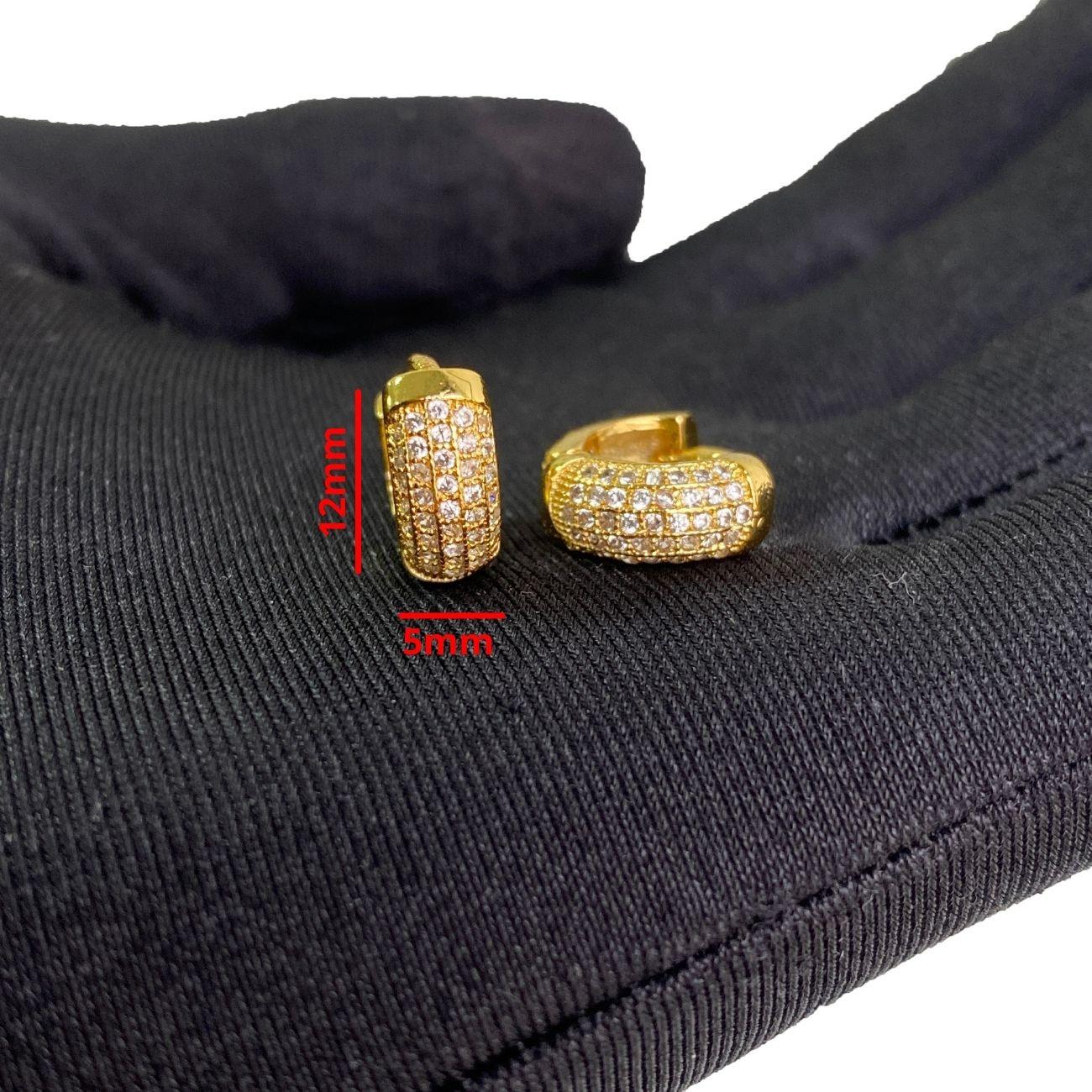 Brinco Argola Cravejada em Zircônia 39 pedras (Banho Ouro 24k)