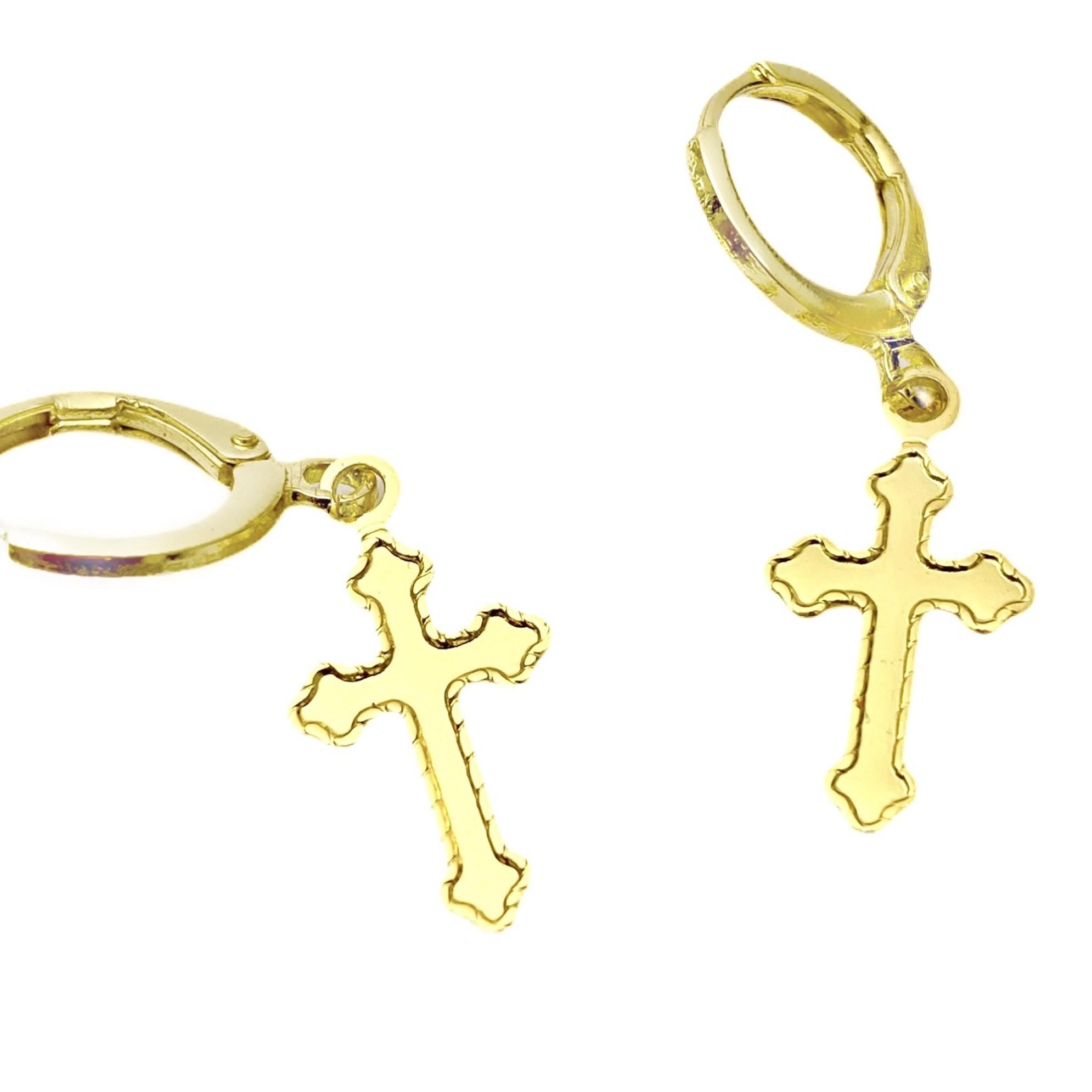Brinco Argola Crucifixo (Banho Ouro 24K)