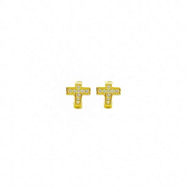 Brinco Argola Cruz Cravejada em Zircônia (Banho Ouro 24k)