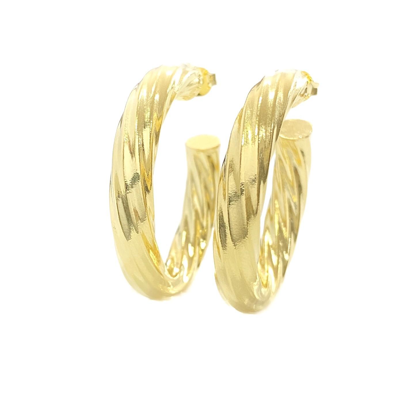Brinco Argola Espiral G (10,5g) (Banho Ouro 24k)