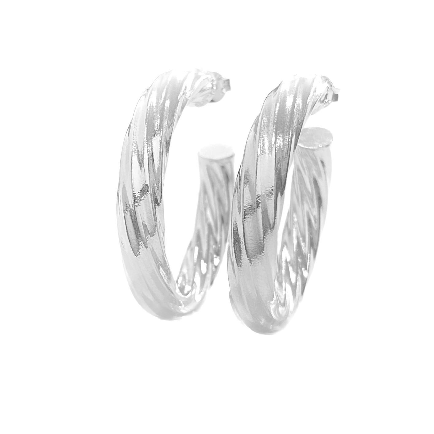 Brinco Argola Espiral G (Banho Prata 925)