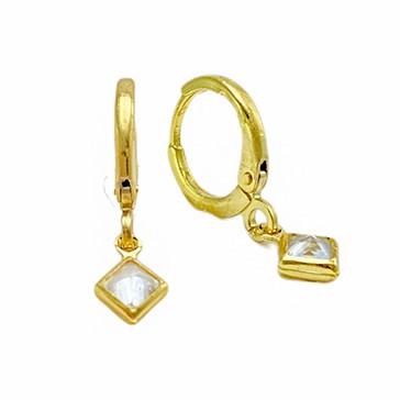 Brinco Argola Losango Cravejado em Zircônia (Banho Ouro 24k)
