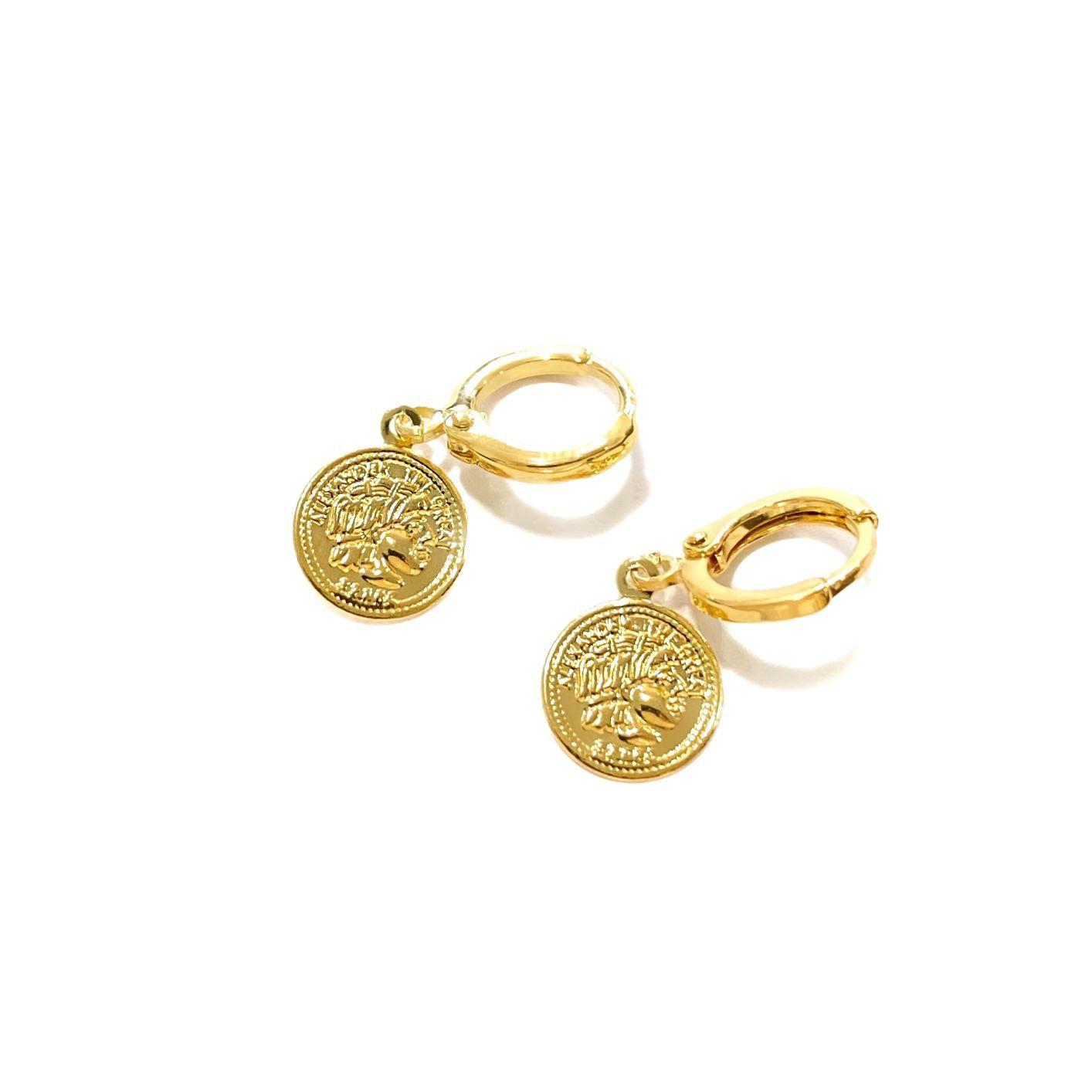 Brinco Argola Medalha Romana (Banho Ouro 24k)