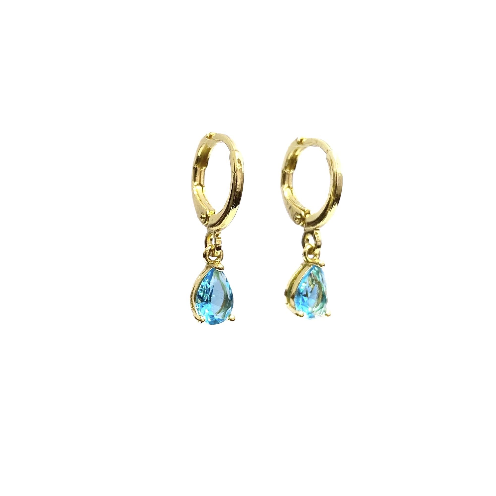 Brinco Argola Pedra Aquamarine (Banho Ouro 24k)