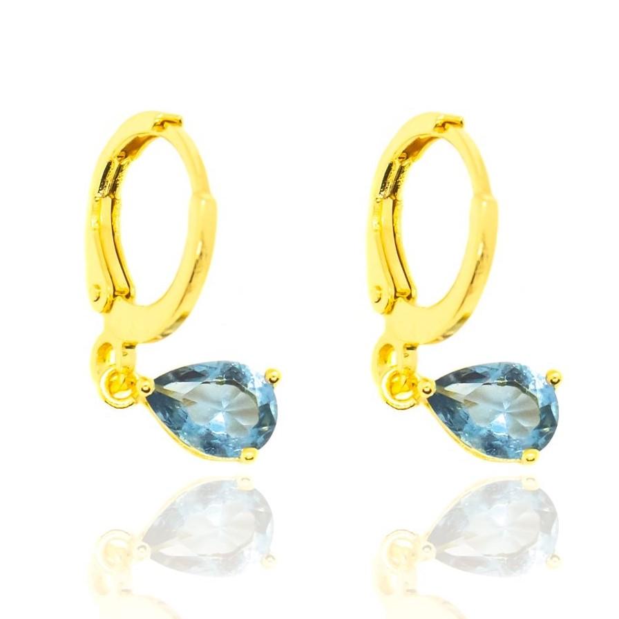 Brinco Argola Pedra Azul (Banho Ouro 24k)