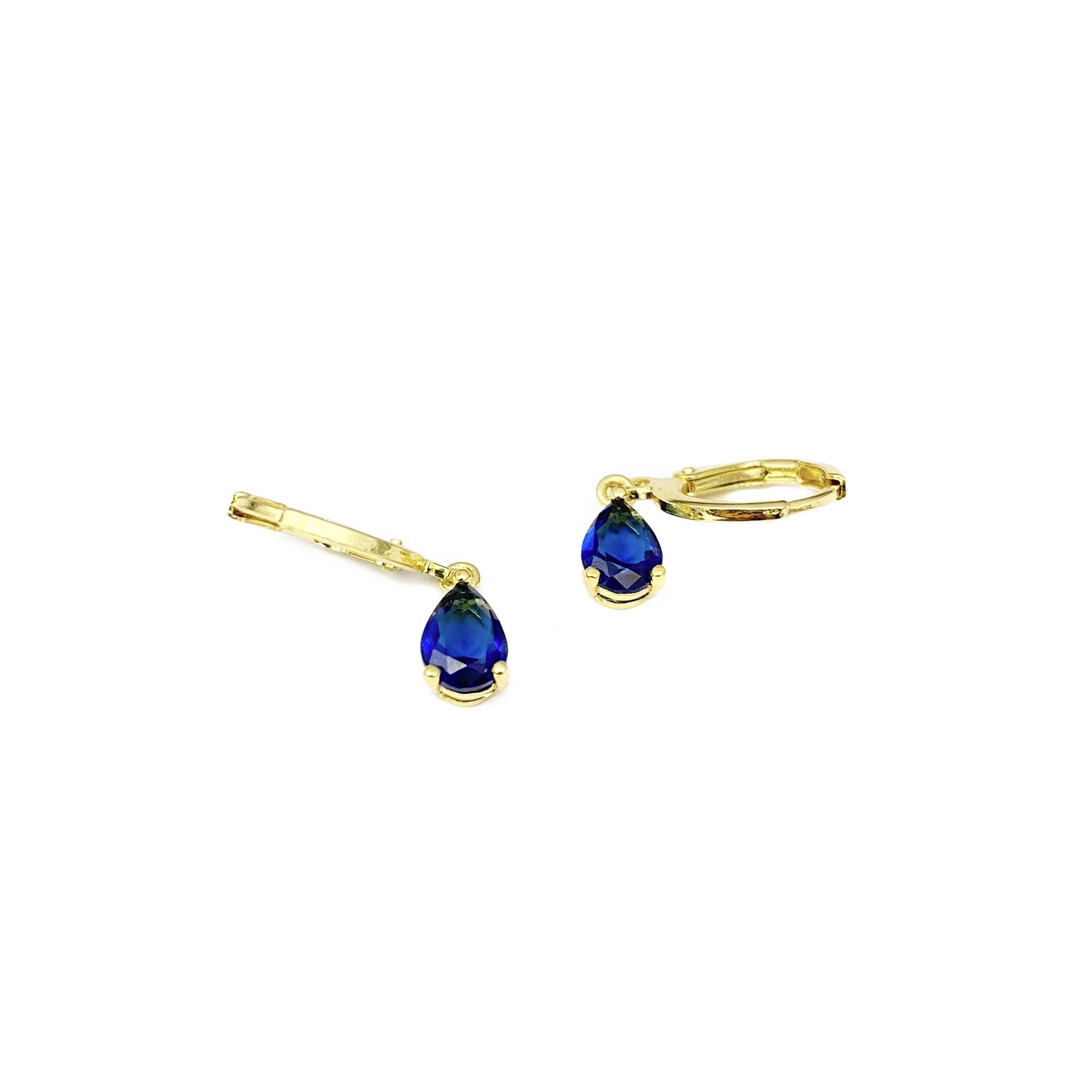 Brinco Argola Pedra Azul Marinho (Banho Ouro 24k)