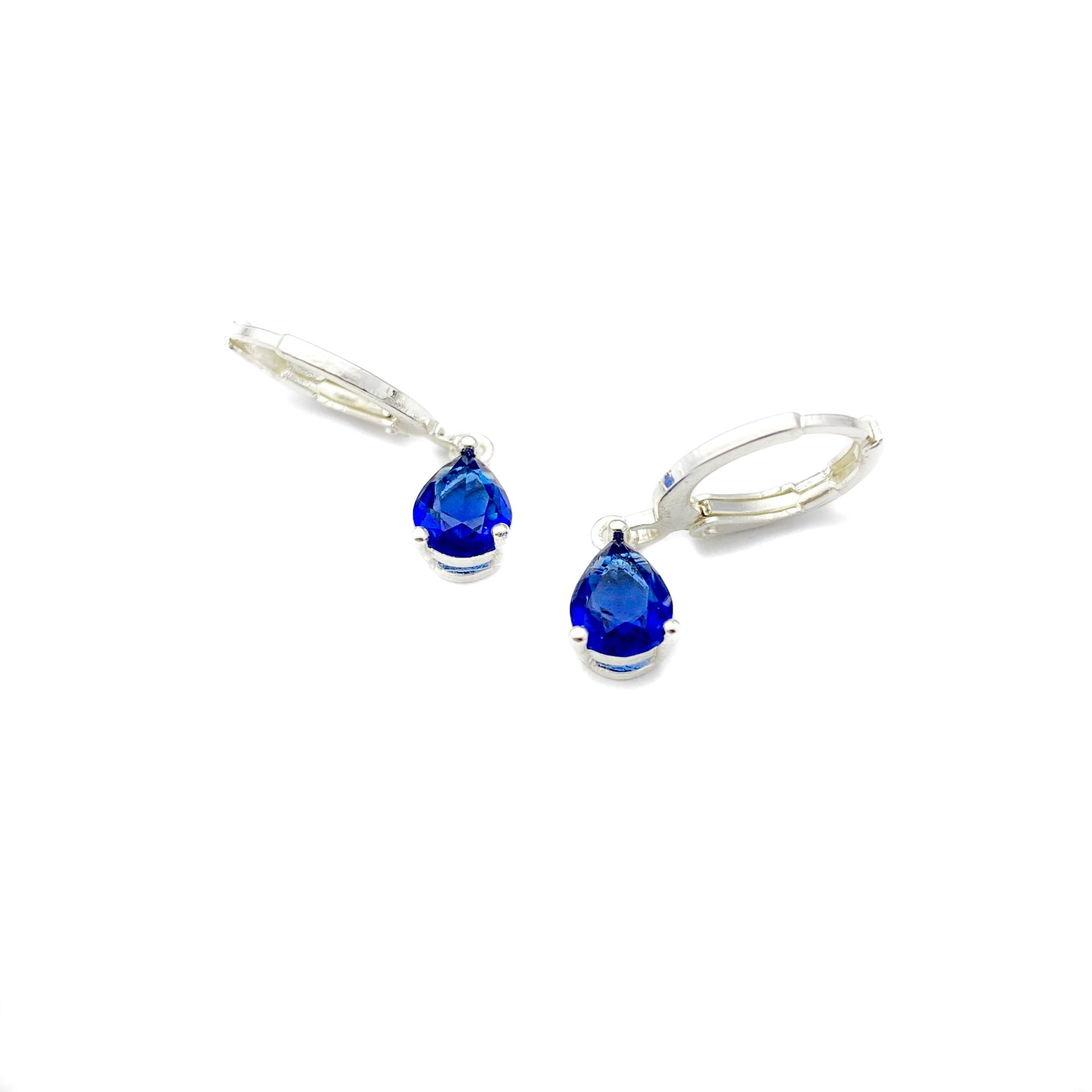 Brinco Argola Pedra Azul Marinho (Banho Prata 925)
