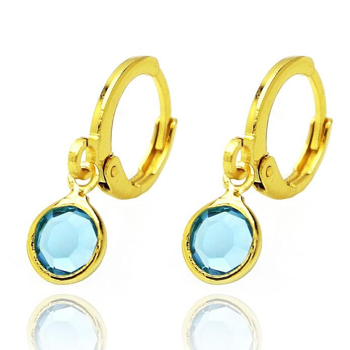 Brinco Argola Pedra de Zircônia Azul P (Banho Ouro 24k)