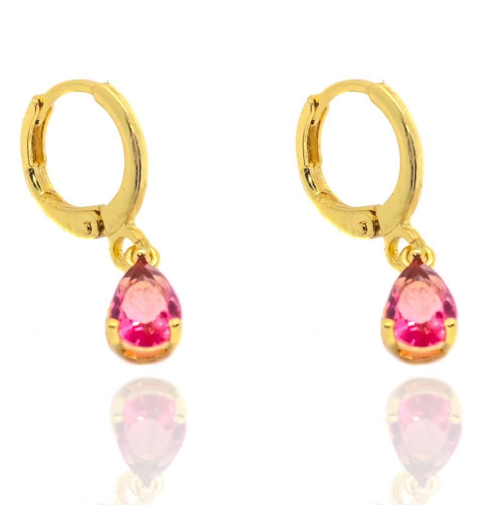 Brinco Argola Pedra Rosa (Banho Ouro 24k)