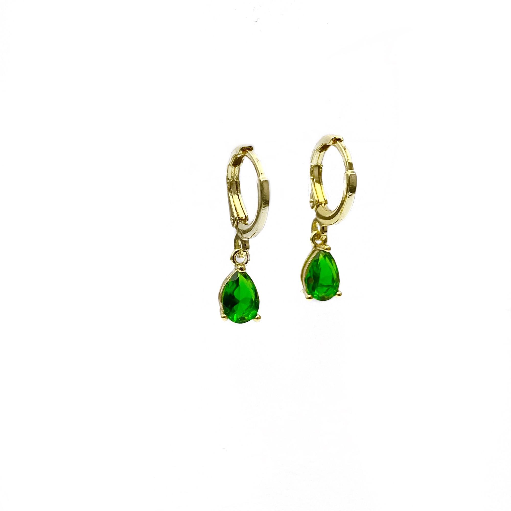 Brinco Argola Pedra Verde GDO (Banho Ouro 18k)