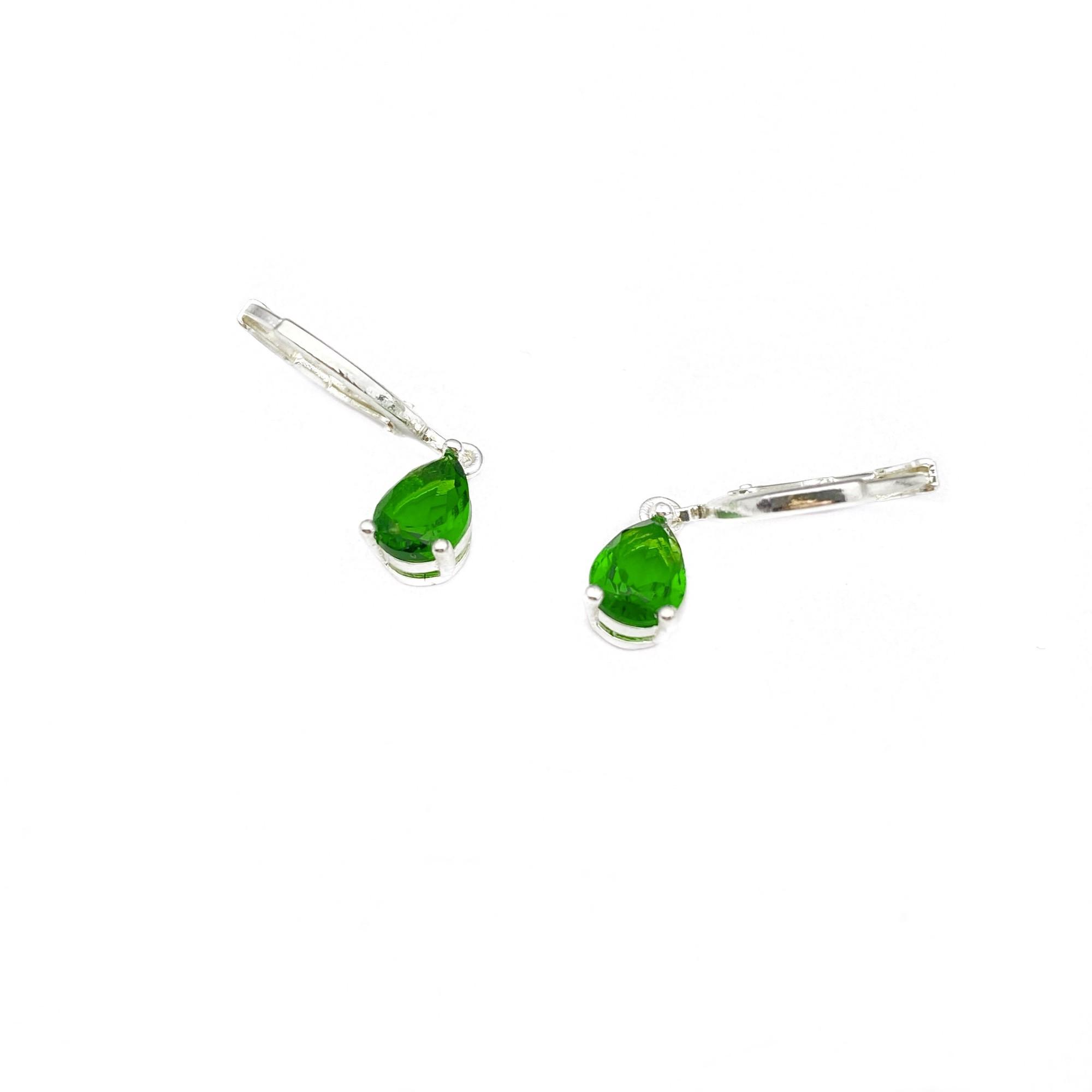 Brinco Argola Pedra Verde (Banho Prata 925)