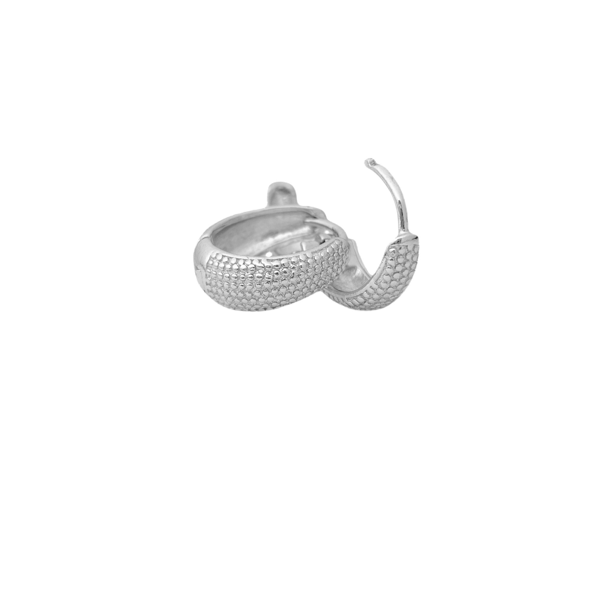 Brinco Argola Texturizado P (Banho Prata 925) (Piercing Hélix)