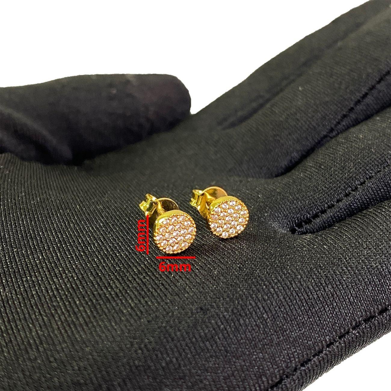 Brinco Circular 14 Pedras (Zircônia) (6mmX6mm) (Banho Ouro 24k)