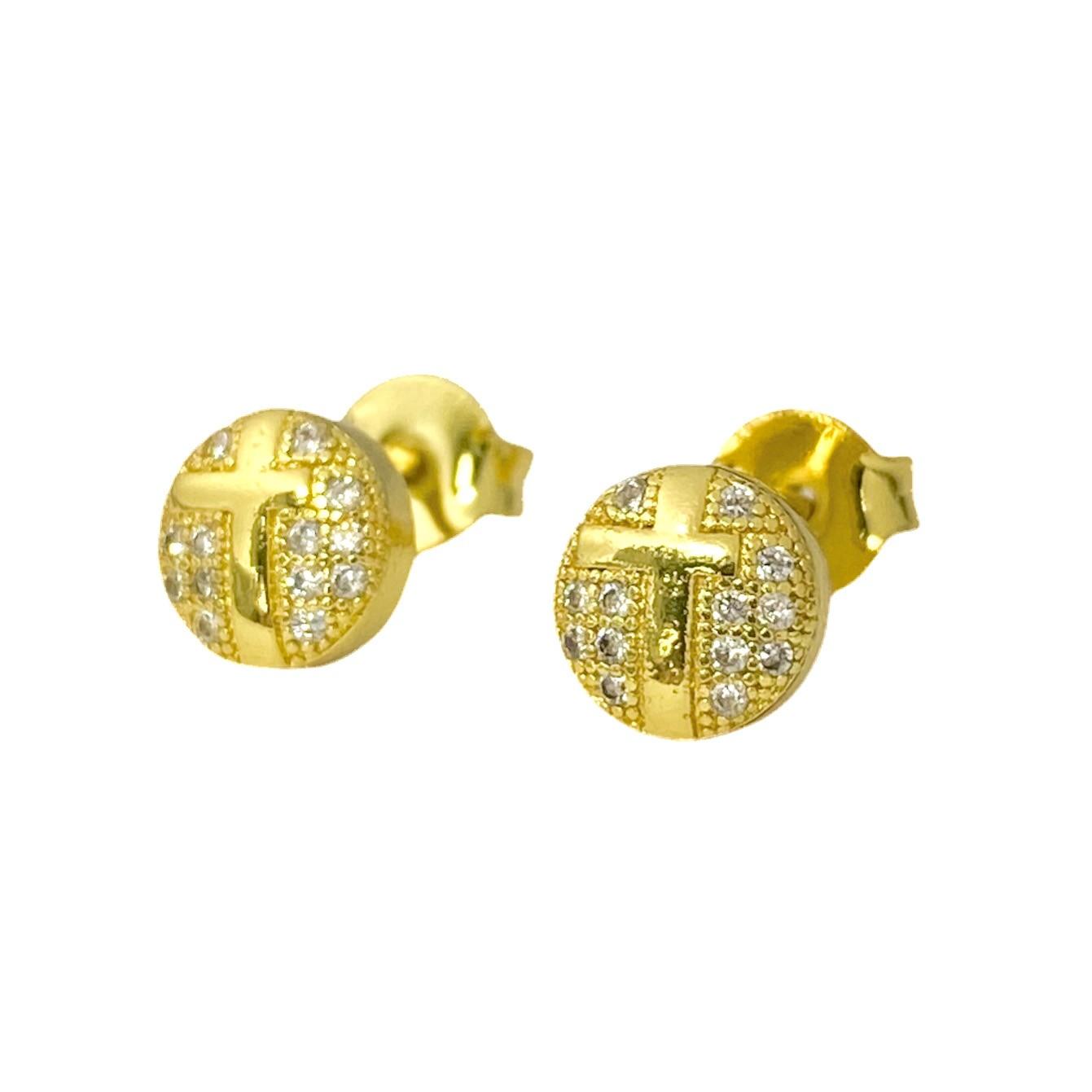 Brinco Circular Com Cruz Pedras 7mm X 7mm (Zircônia) (Banho Ouro 24k)
