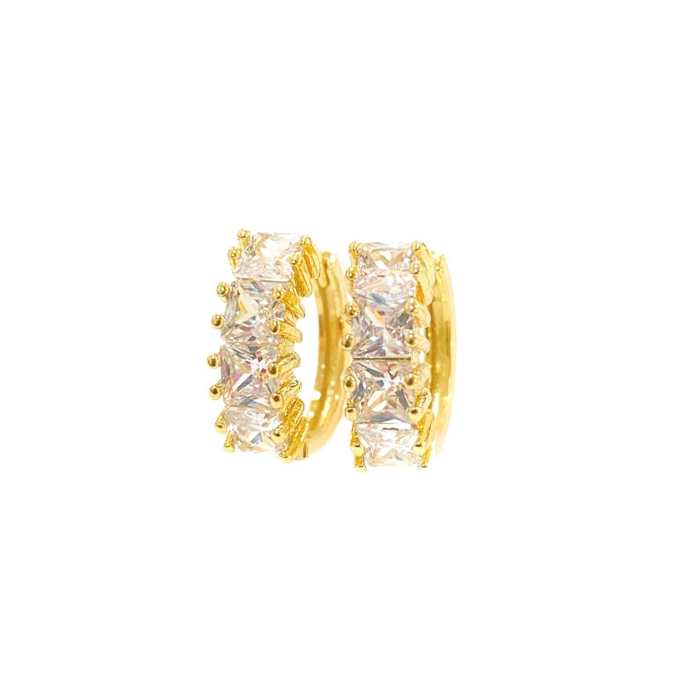 Brinco Click 4 Pedras de Zircônia (Banho Ouro 24k)