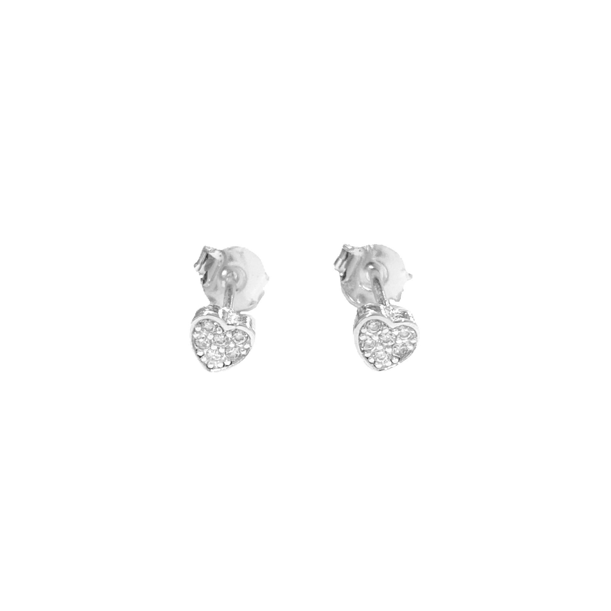 Brinco Coração Mini Cravejado em Zircônia (Banho Prata 925)