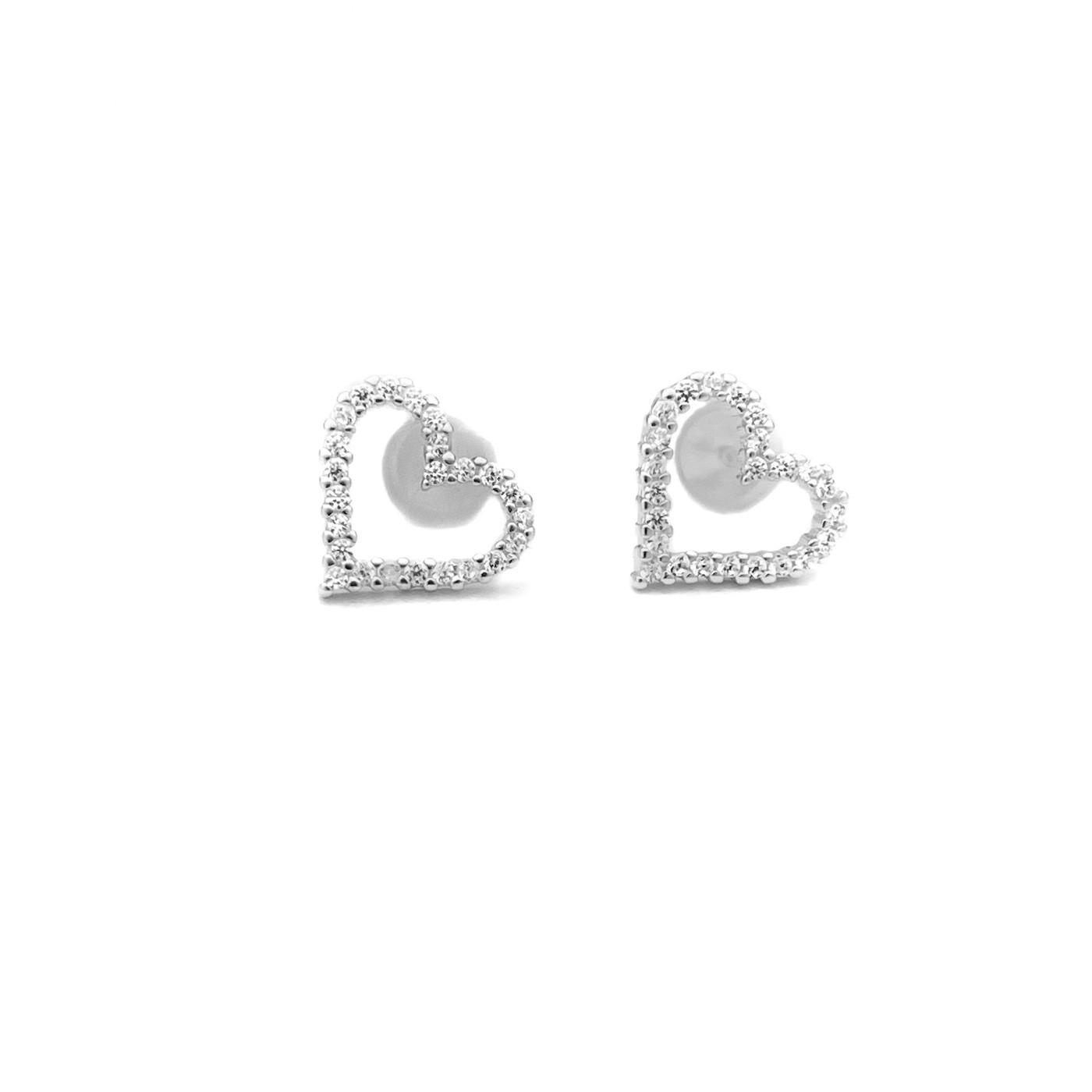 Brinco Coração Vazado 24 pedras de Zircônia (Prata 925 Italiana)