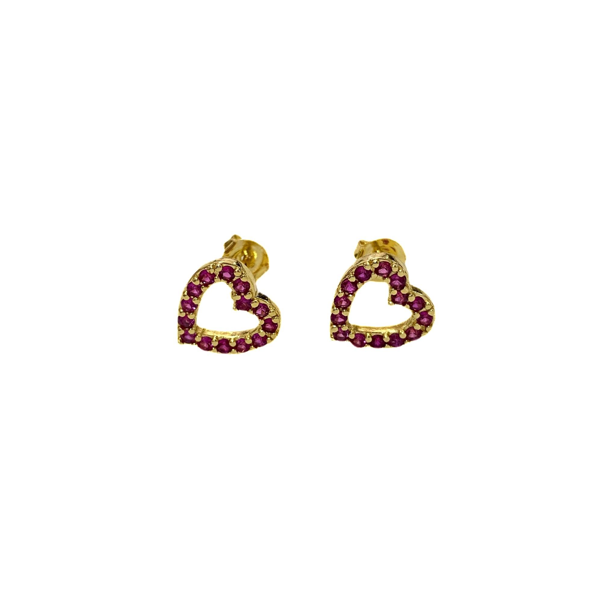 Brinco Coração vazado  em Zircônia Rosa Escuro (Banho Ouro 24K)