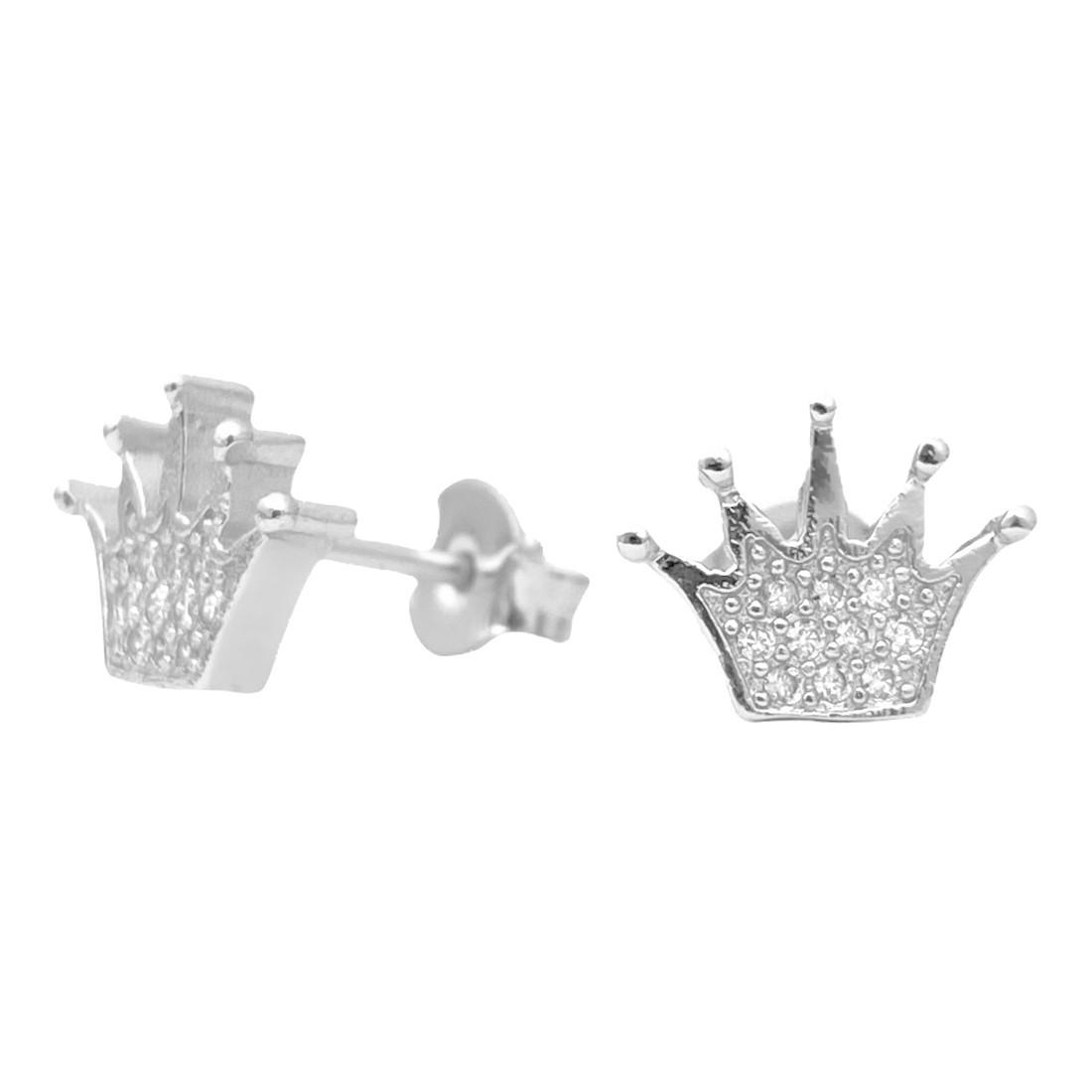 Brinco Coroa Cravado com Perdas de  Zircônia (Banho Prata 925)
