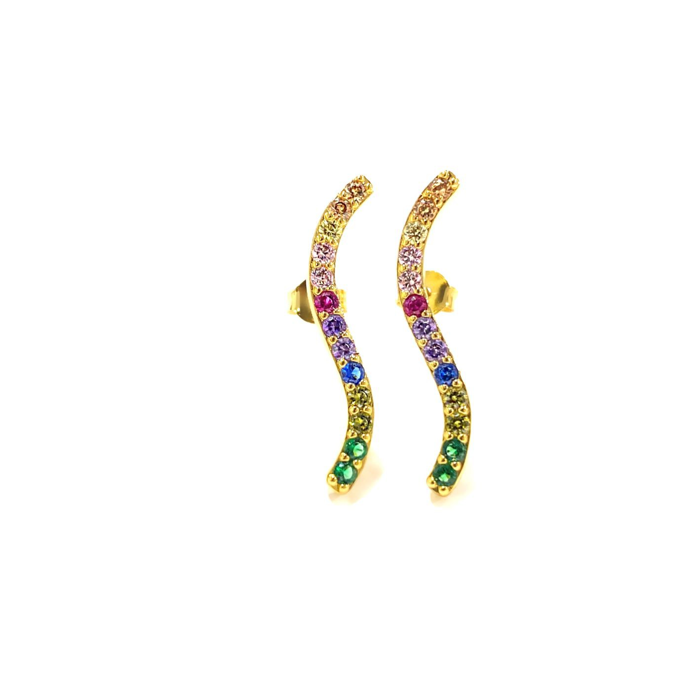Brinco Cravejado Colors Zircônia (Banho Ouro 24k)