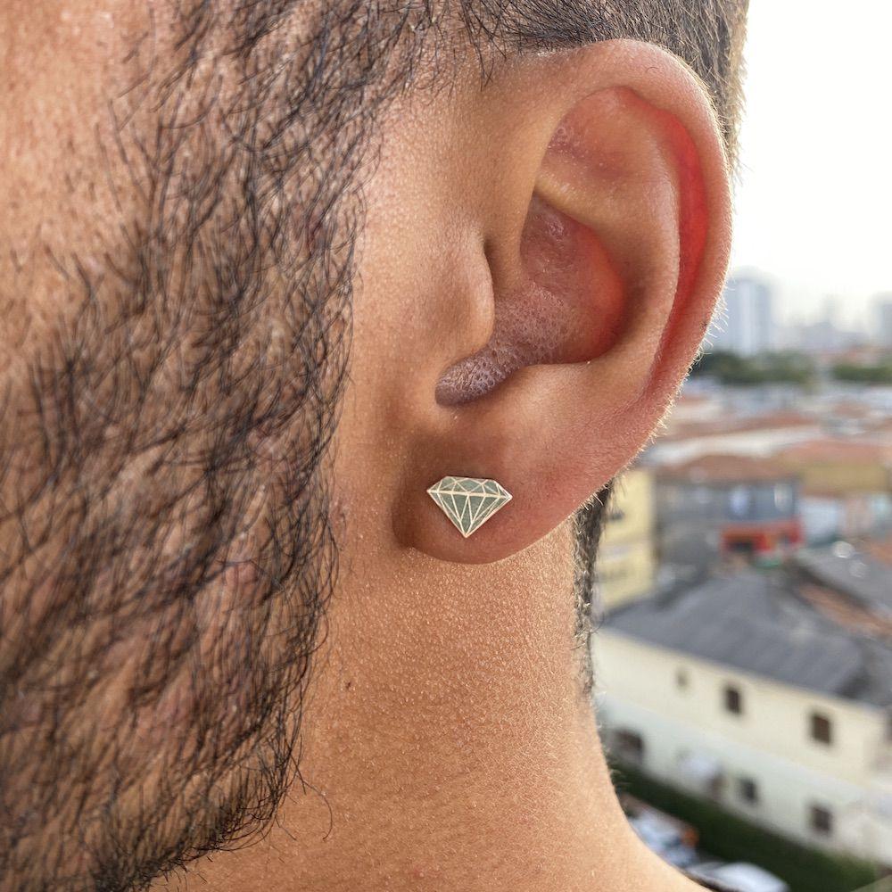Brinco Diamante 7mm X 9,8mm (Prata 925 Italiana)