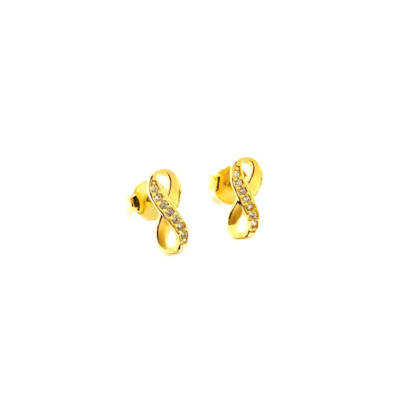 Brinco Símbolo Infinito Cravejado em Zircônia (Banho Ouro 24k)