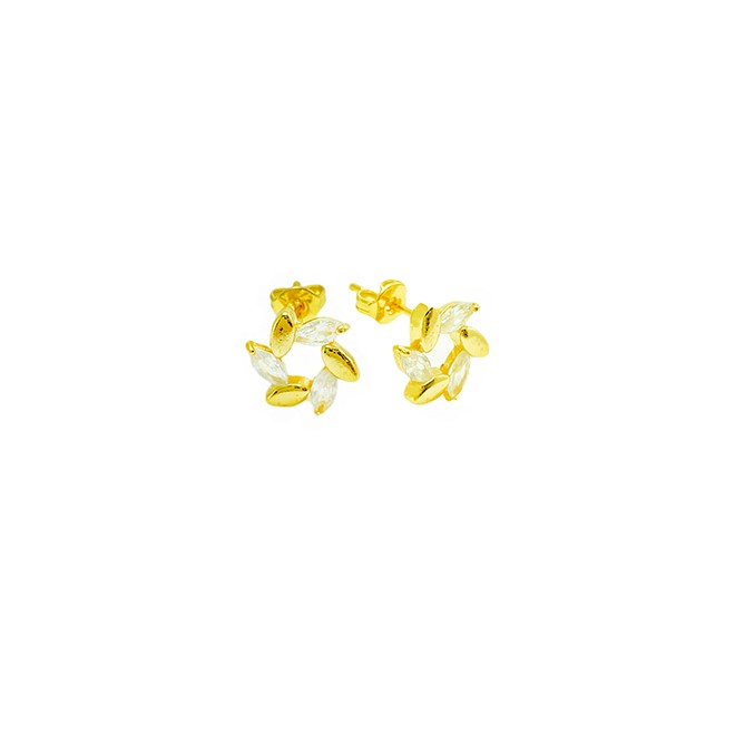 Brinco Flor com Pétalas Cravadas em Zircônia (Banho Ouro 24k)