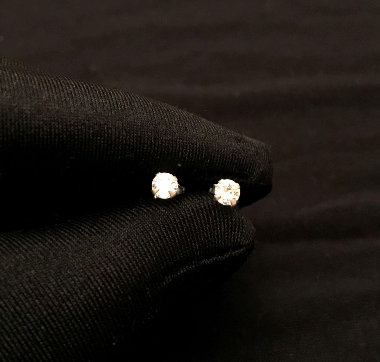 Brinco Pedra De Zircônia  Circular 3,8mm X 3,8mm (Prata 925 Italiana)