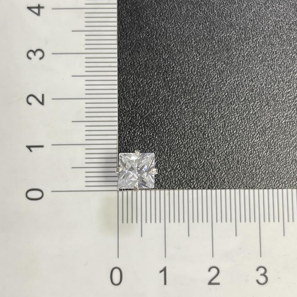 Brinco Pedra De Zircônia (7mmX7mm) (Prata 925 Italiana)
