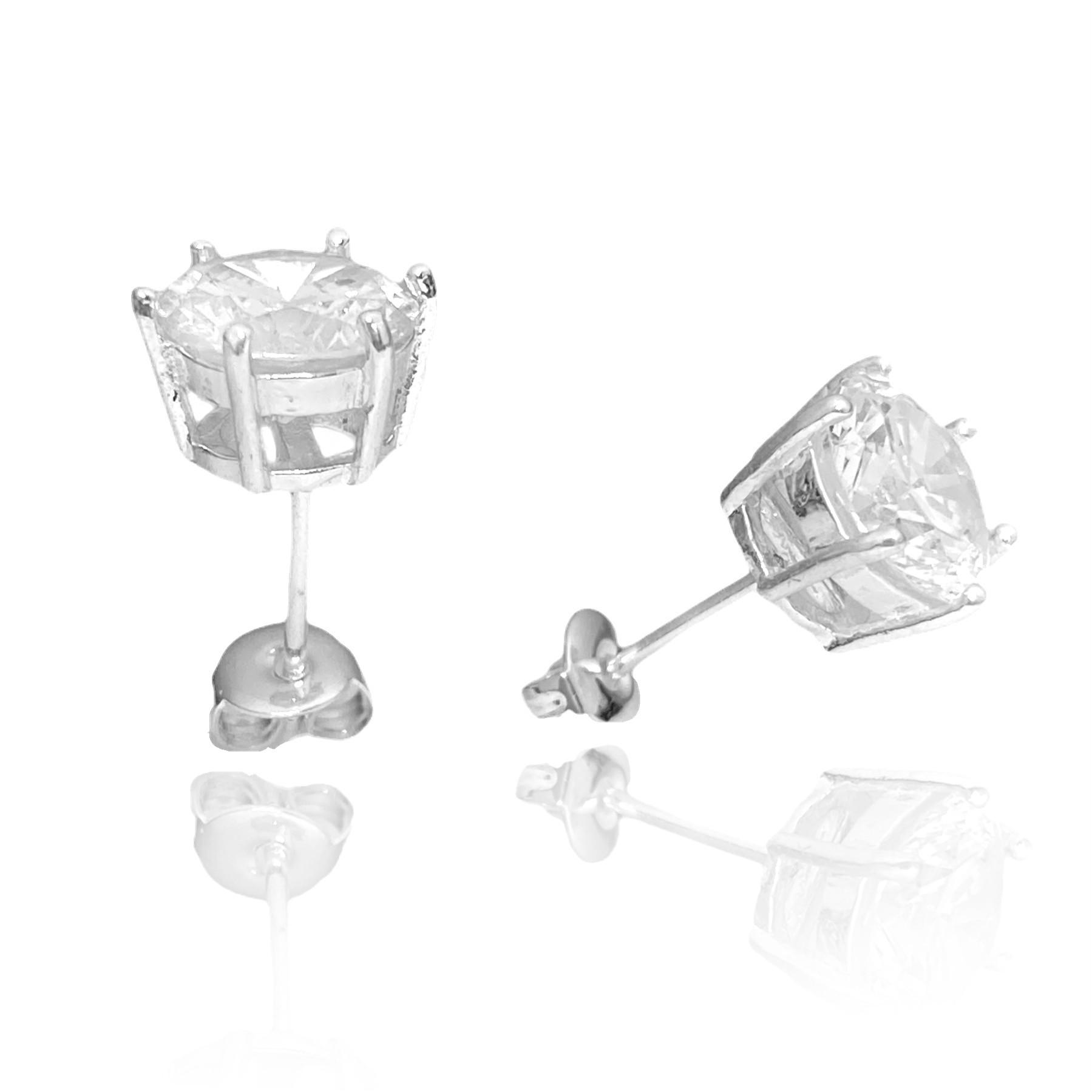 Brinco Pedra de Zircônia Circular 7,5mm X 7,5mm (Banho Prata 925)