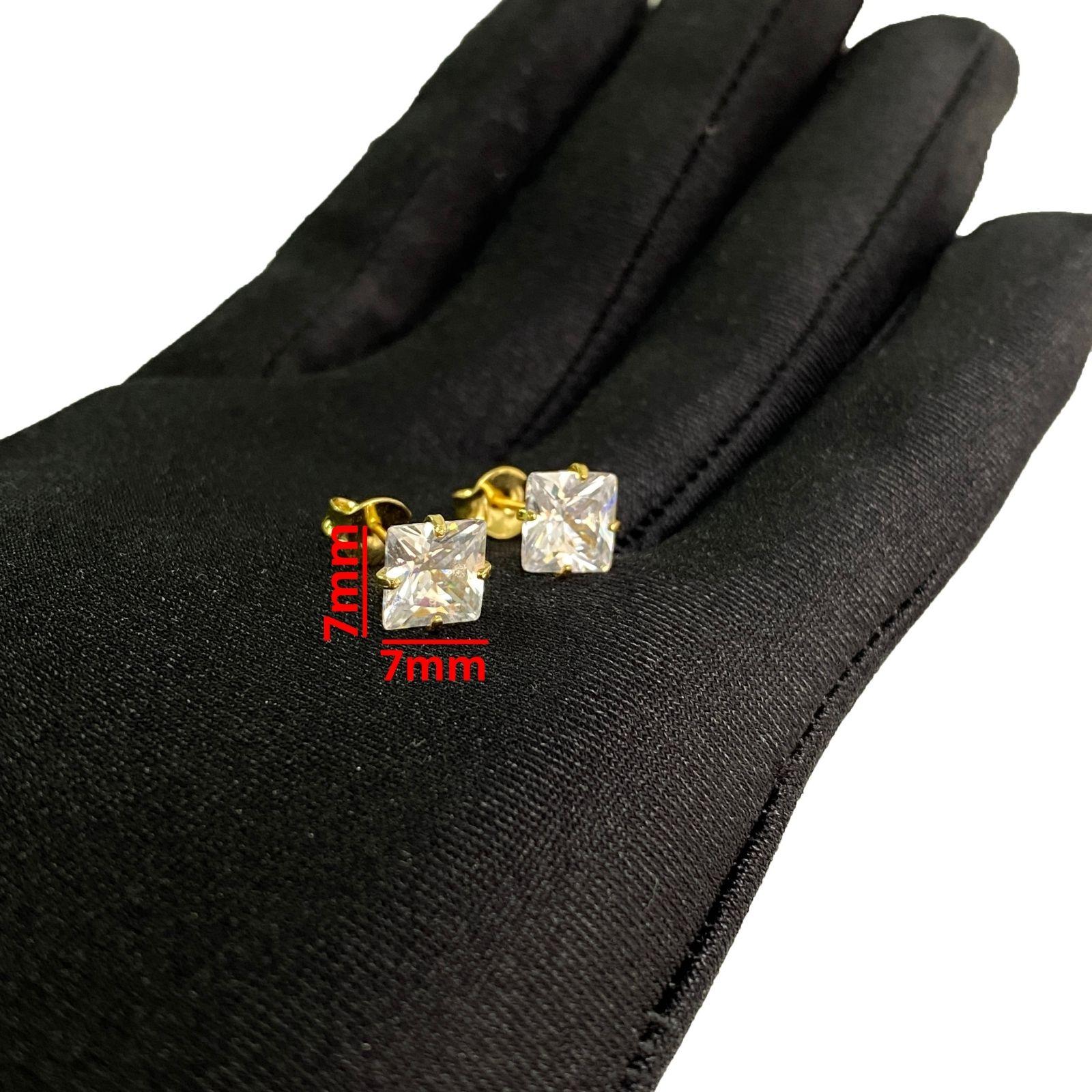 Brinco Pedra de Zircônia Quadrado 7mm X 7mm (Banho Ouro 24k)