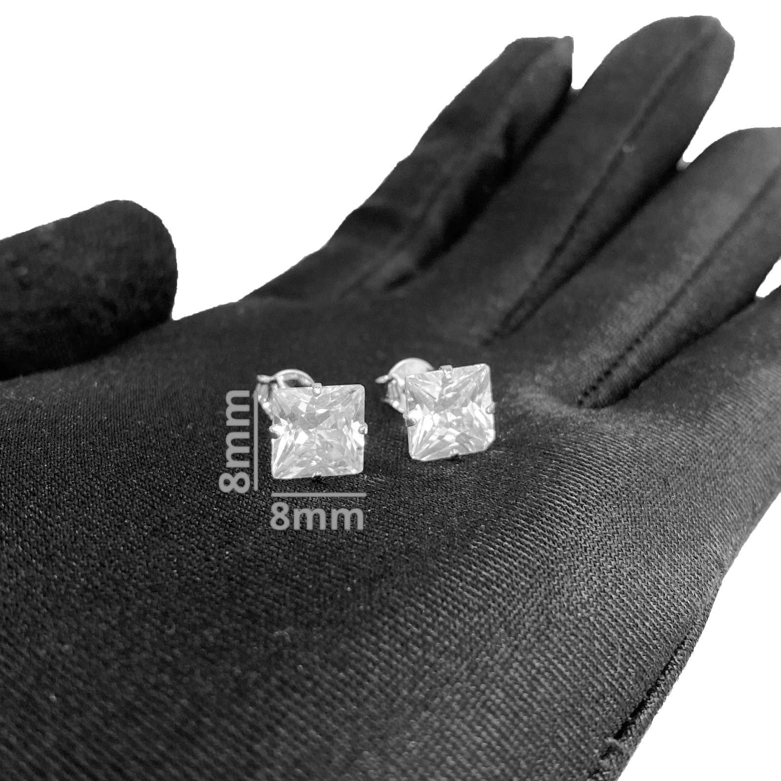 Brinco Pedra de Zircônia Quadrado (8mmX8mm) (Banho Prata 925)