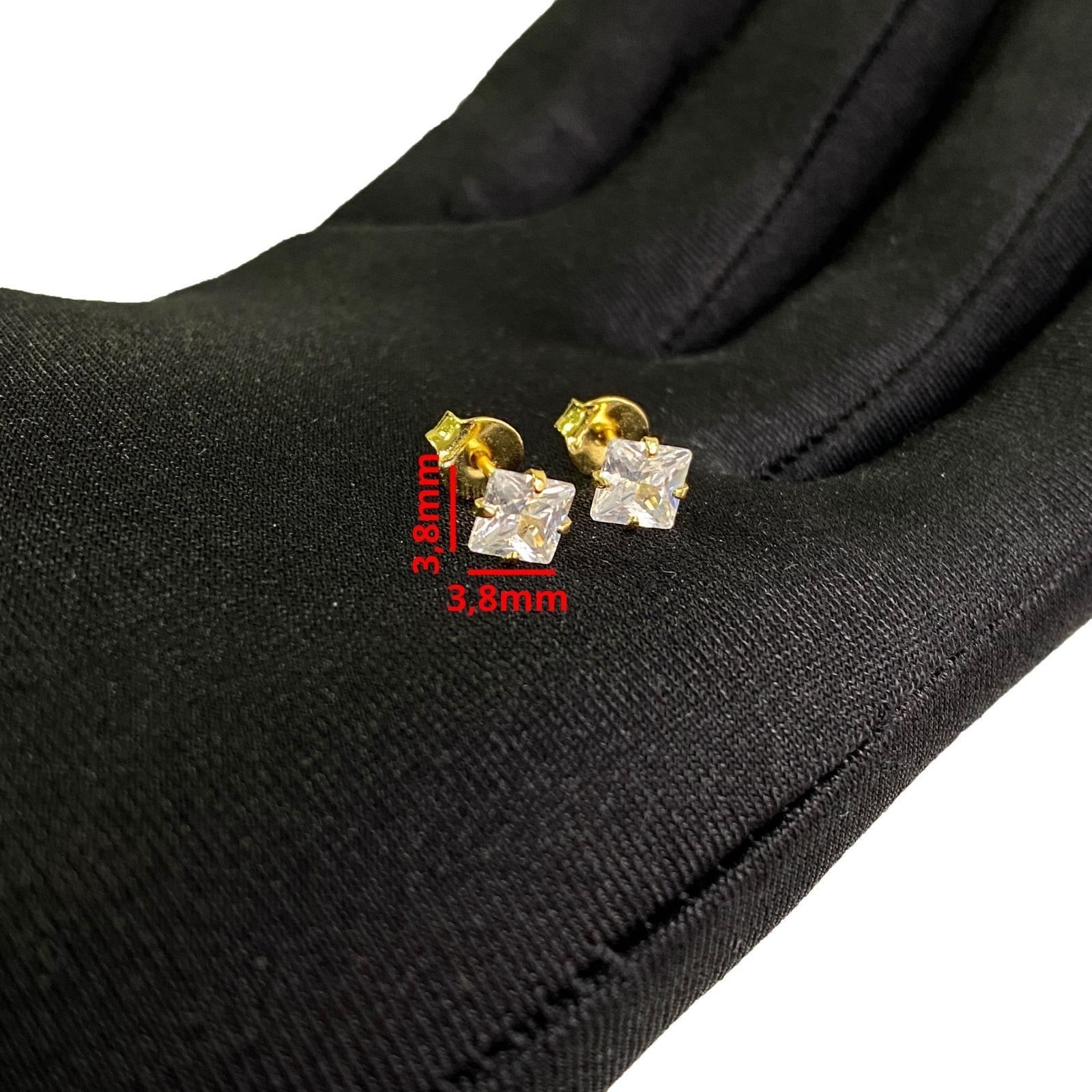 Brinco Pedra de Zircônia Sem Galeria 3,8mm X 3,8mm (Banho de Ouro 18k)