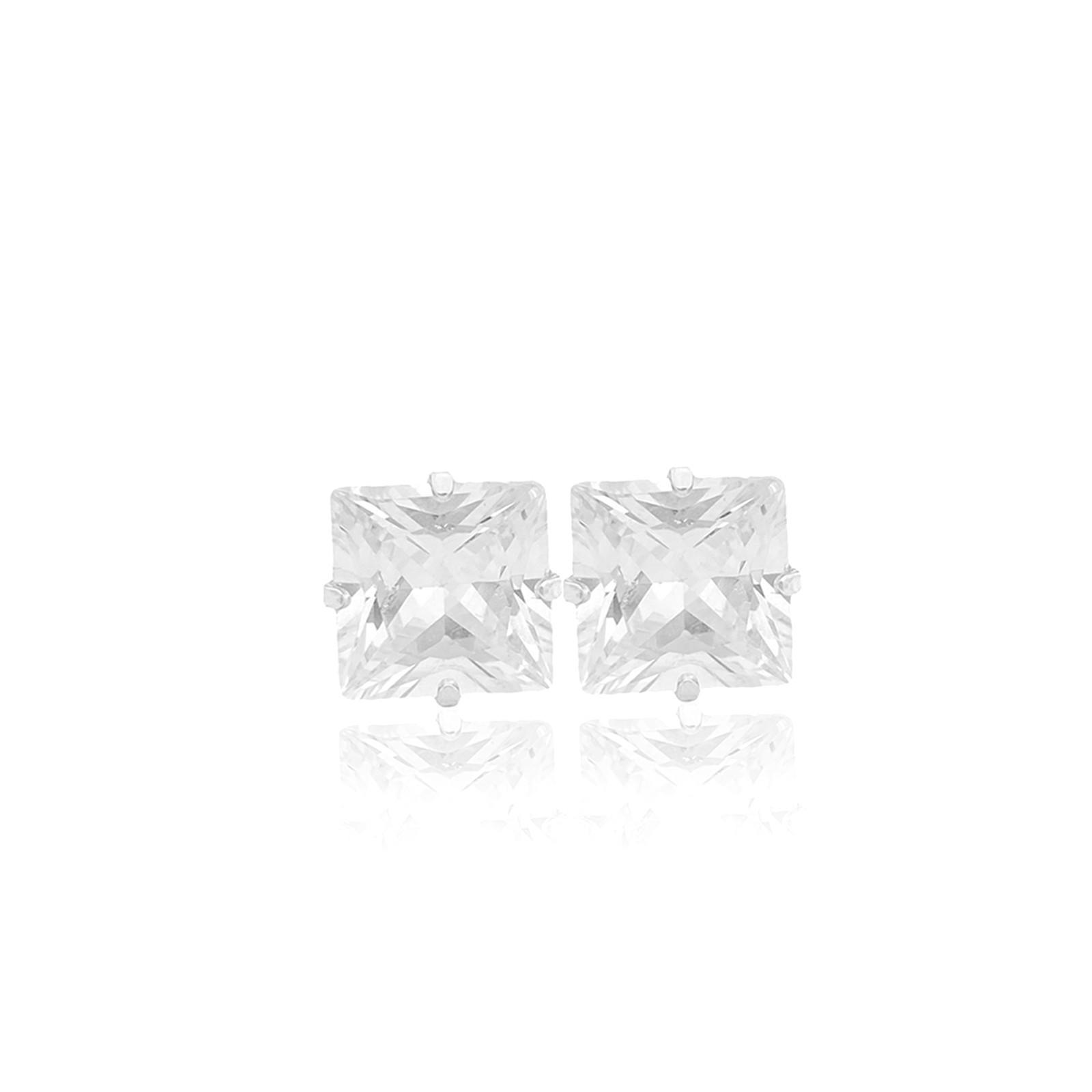 Brinco Pedra de Zircônia Sem Galeria 5mm X 5mm (Banho Prata 925)