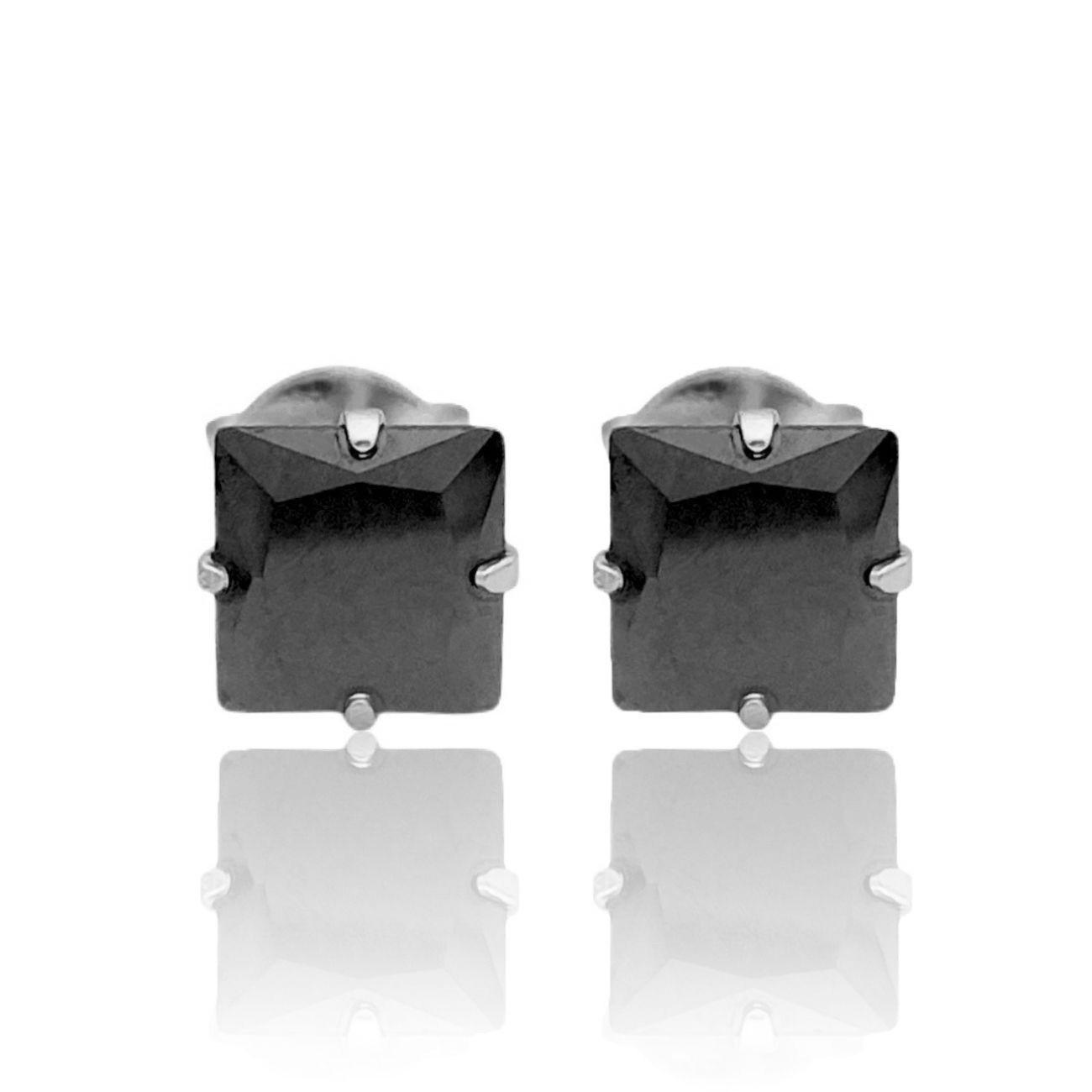 Brinco Pedra Preta de Zircônia Quadrada 6mm X 6mm (Banho Prata 925)