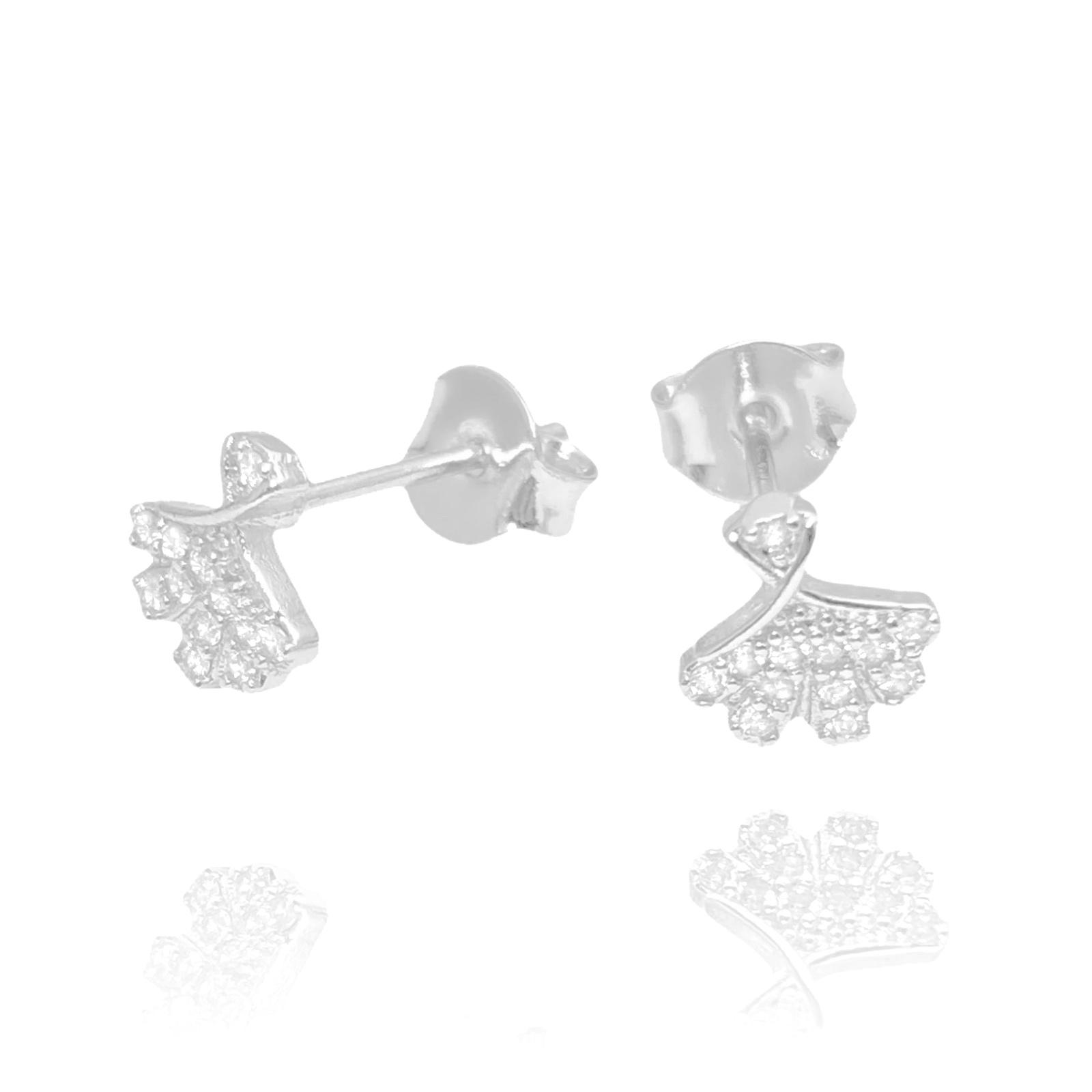 Brincos Leque Mini cravejado em Zircônia (Banho Prata 925)