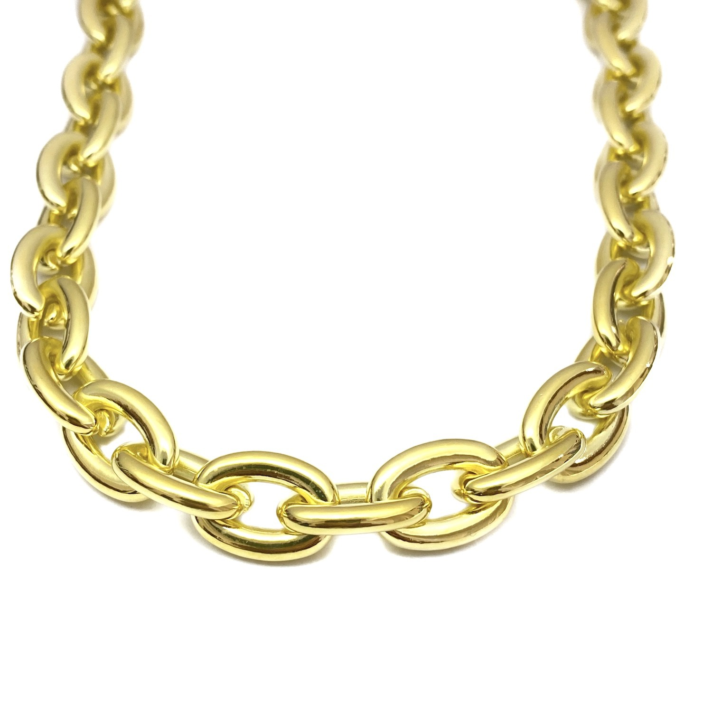 "Colar / Choker ""Chain"" 40cm 13mm (Banho Ouro 24k)"