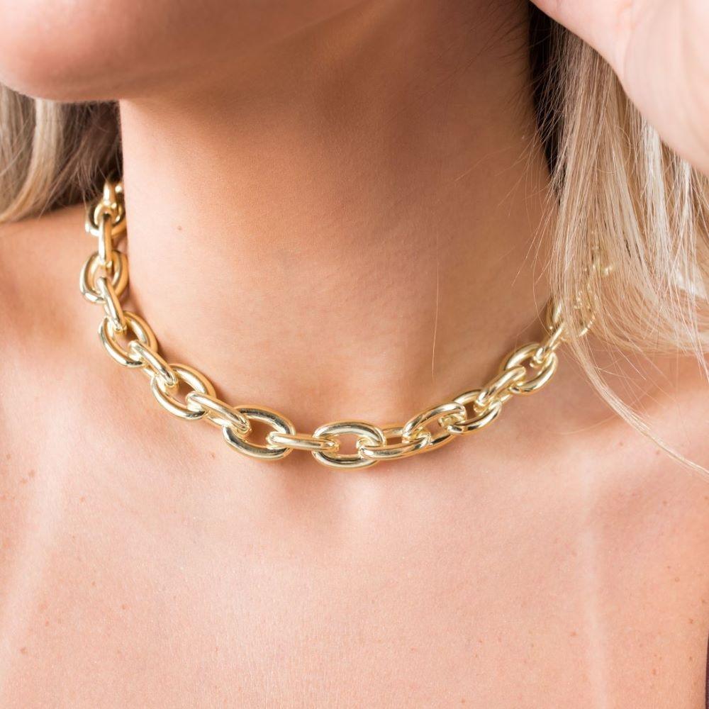 "Colar ""Chain"" 13mm 40cm (21,3g) (Banho Ouro 24k)"