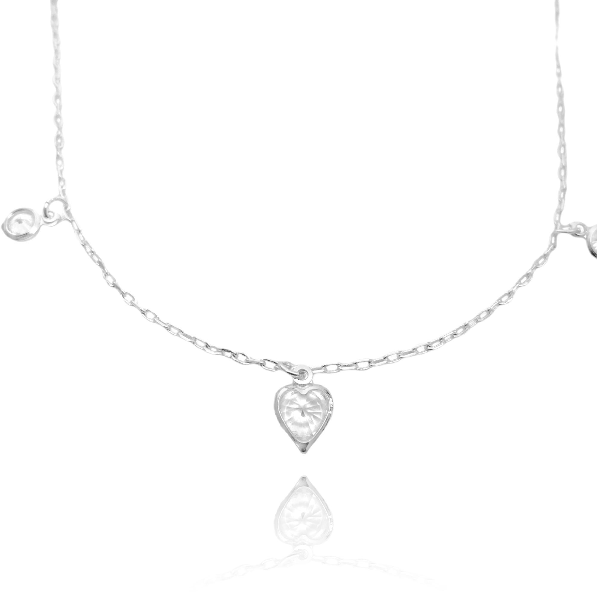 Choker Coração e Pontos de Luz em Zircônia Carrier Cadeado (Banho Prata 925)