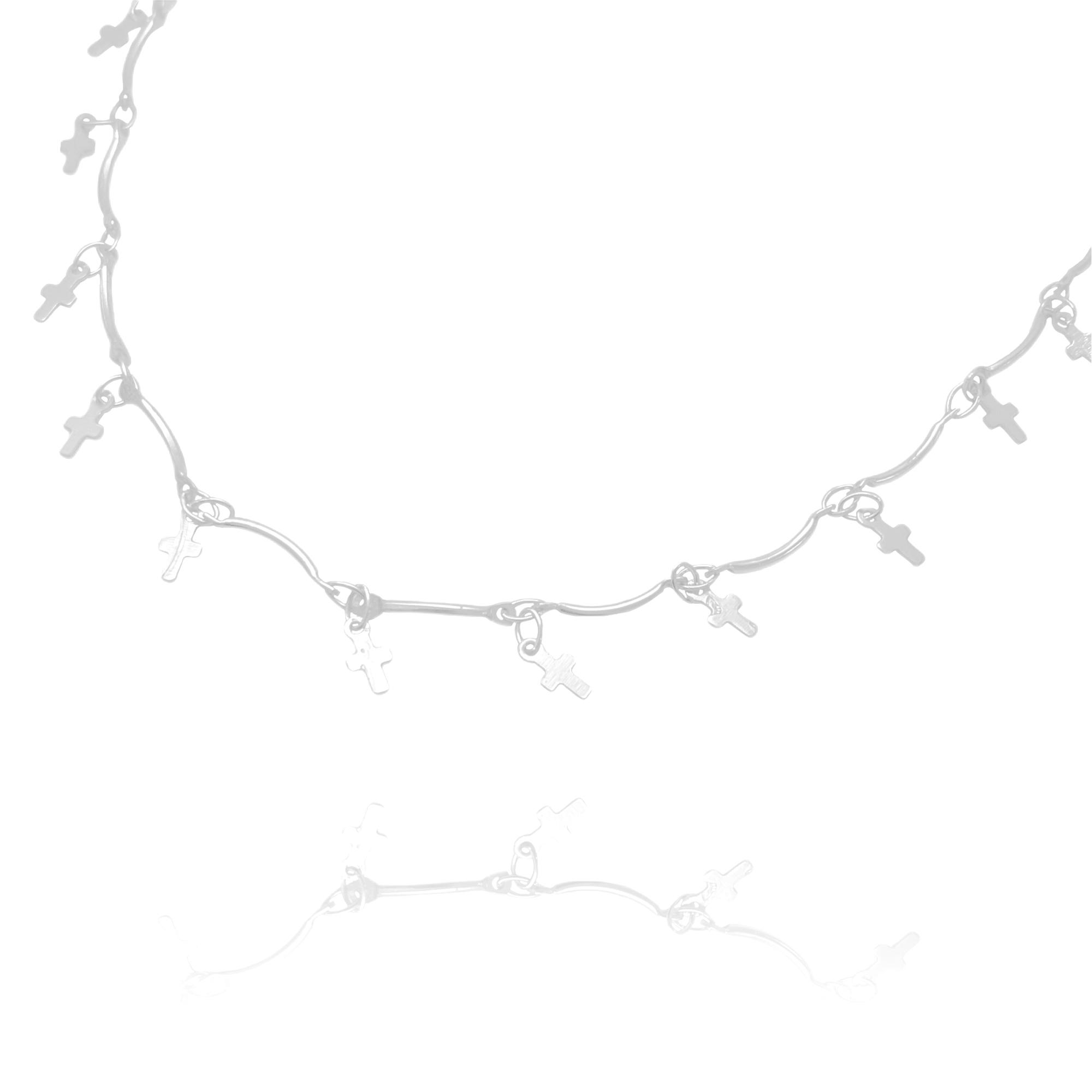 Choker Crucifixo Chapado Mini (Banho Prata 925)