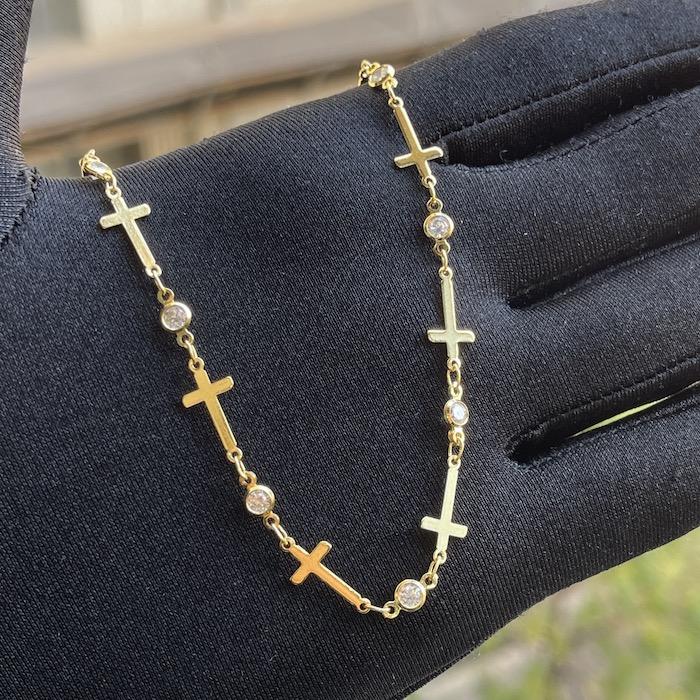 Choker Gotas de Zircônia e Crucifixo Chapado (Banho Ouro 24k)