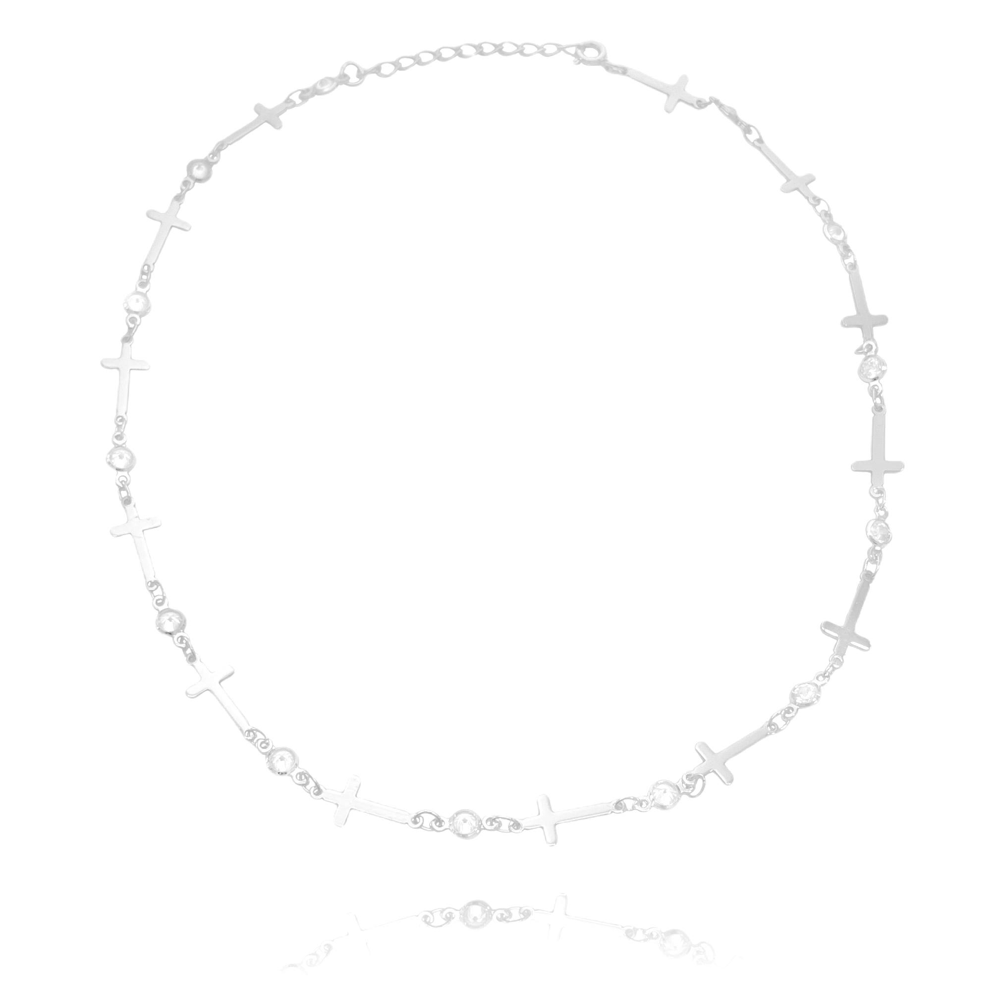 Choker Gotas de Zircônia e Crucifixo Chapado (Banho Prata 925)