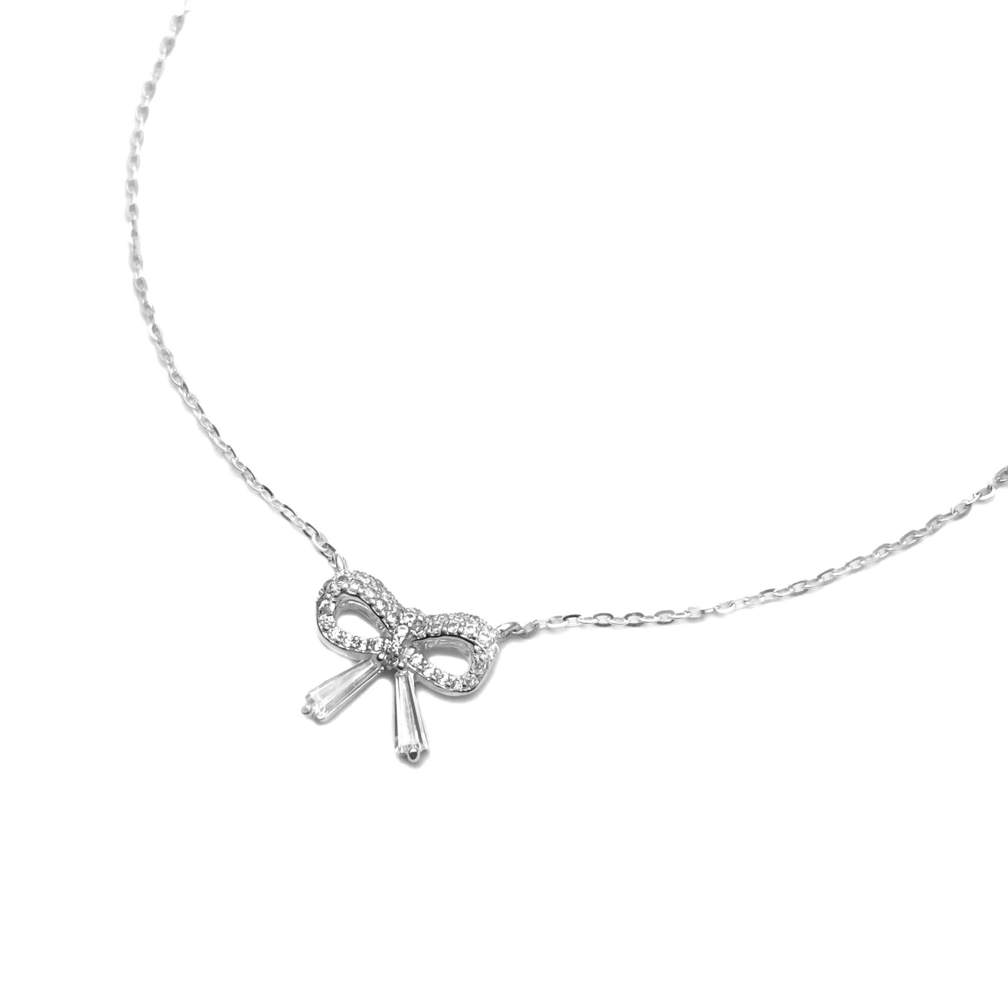 Choker Lacinho Cravejado 40cm (Prata 925 Maciça)