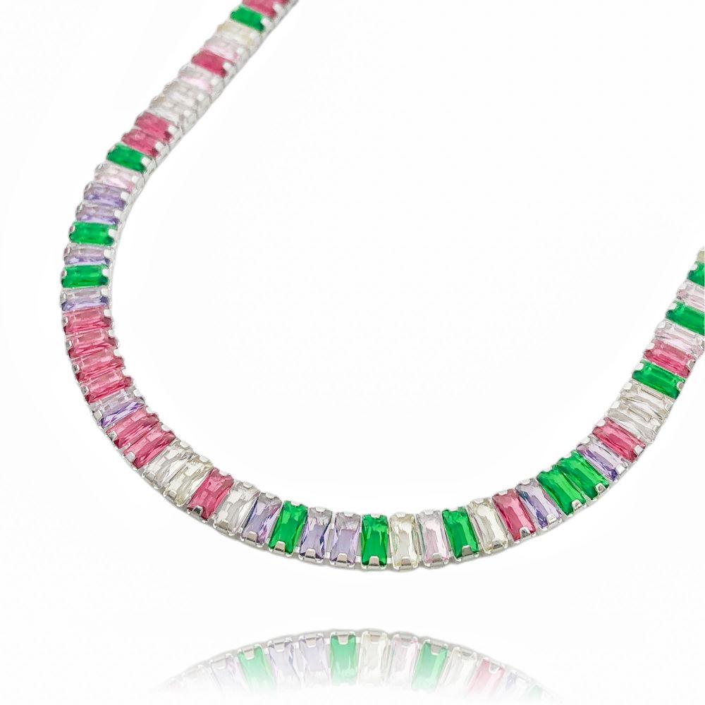 Choker Riviera Baguetes (Pedra de Zorcônia Multi Colors) (12,8g) (Banho Prata 925)