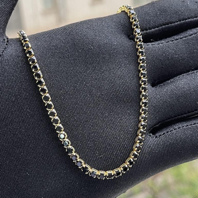 Choker Riviera Tennis Chain 3mm (7,7g) (Pedra Zircônia Preta) (Banho Ouro 24k)