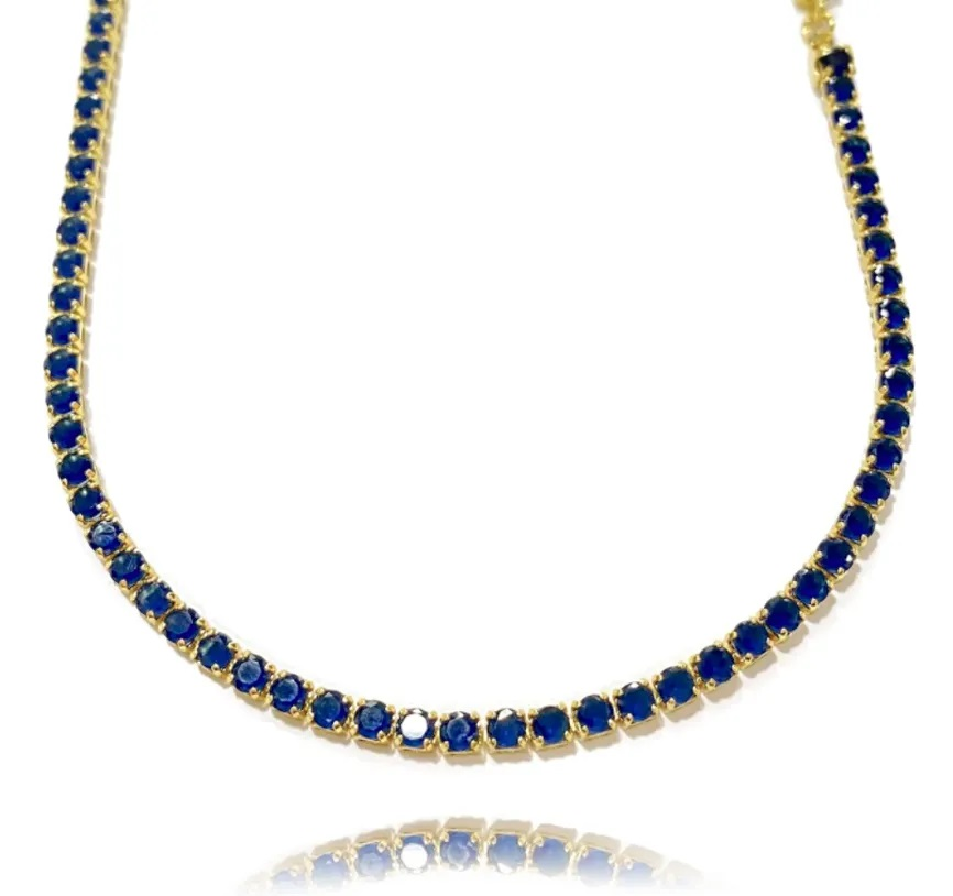 Choker Riviera Tennis Chain 3mm (8g) (Pedra Zircônia Azul) (Banho Ouro 24k)