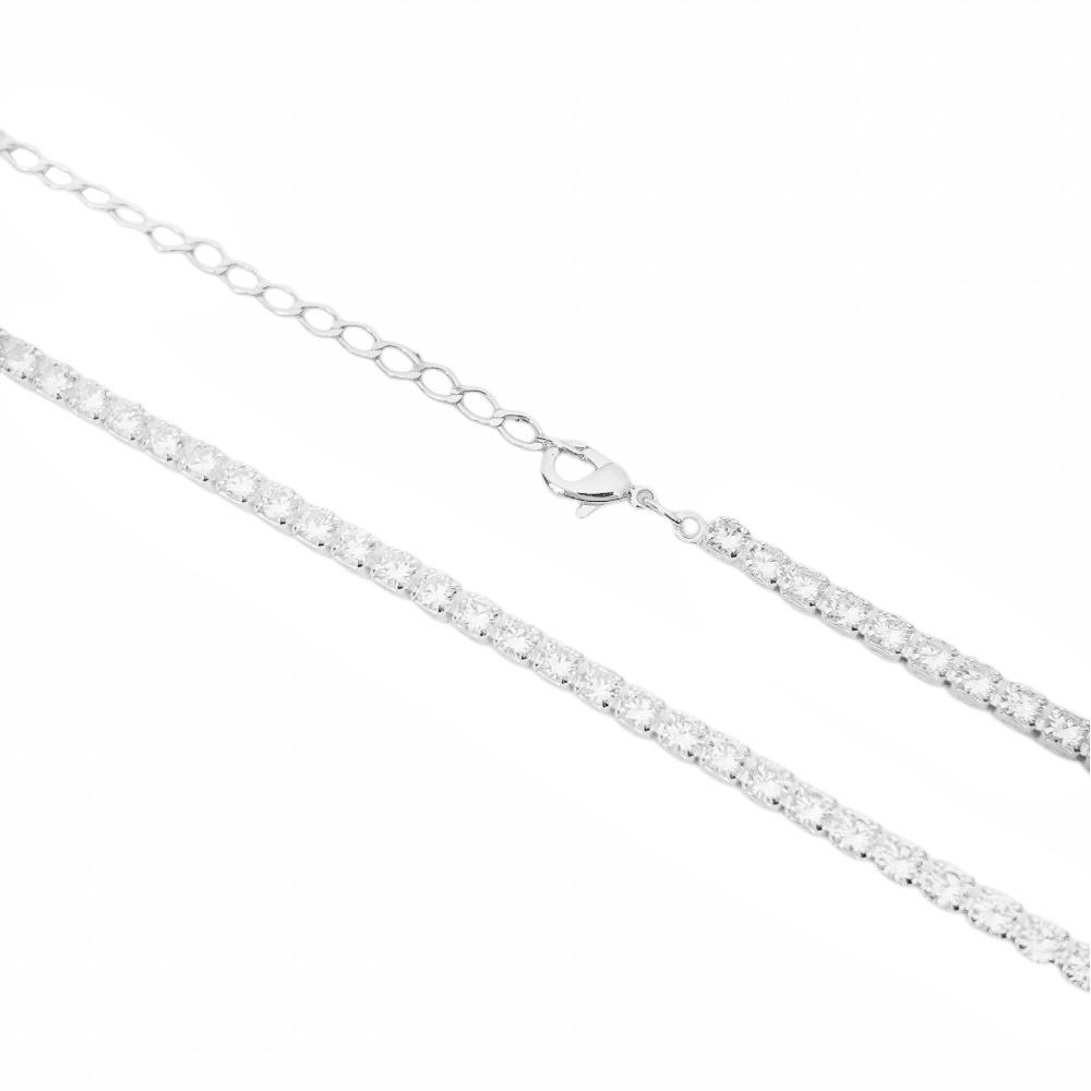 Choker Riviera Tennis Chain 3mm (8g) (Pedra Zircônia) (Banho Prata 925)