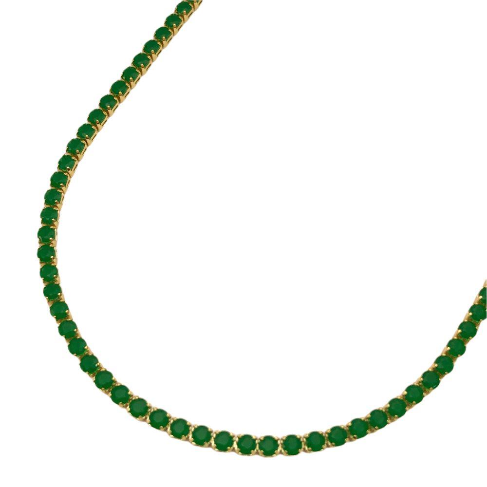 Choker Riviera Tennis Chain 3mm (8g) (Pedra Zircônia Verde) (Banho Ouro 24k)