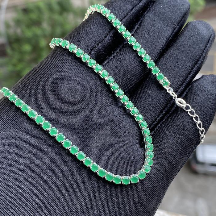 Choker Riviera Tennis Chain 3mm (8g) (Pedra Zircônia Verde) (Banho Prata 925)