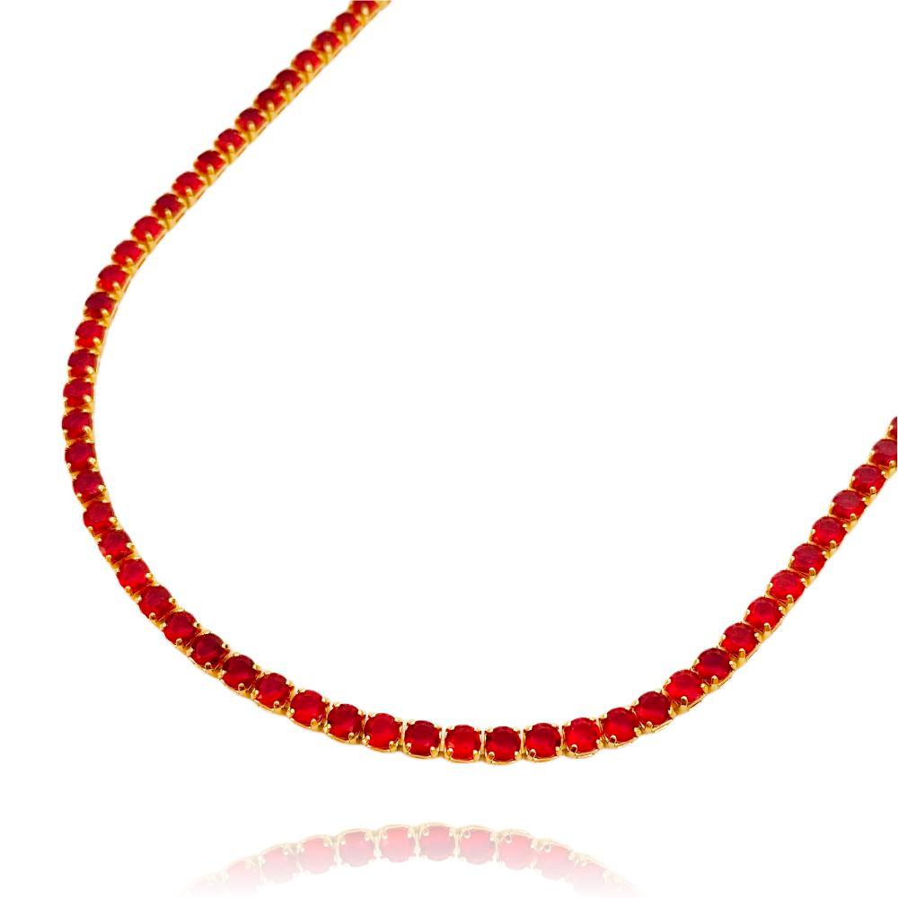 Choker Riviera Tennis Chain 3mm (8g) (Pedra Zircônia Vermelha) (Banho Ouro 24k)